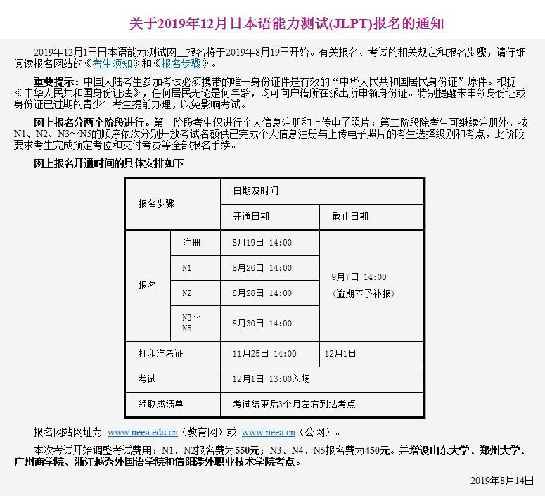 2019年12月日语能力测试(jlpt)报名费调整并增设五个考点